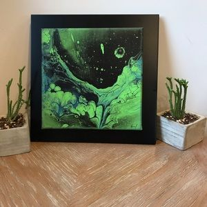 Original abstract art outer space black & green
